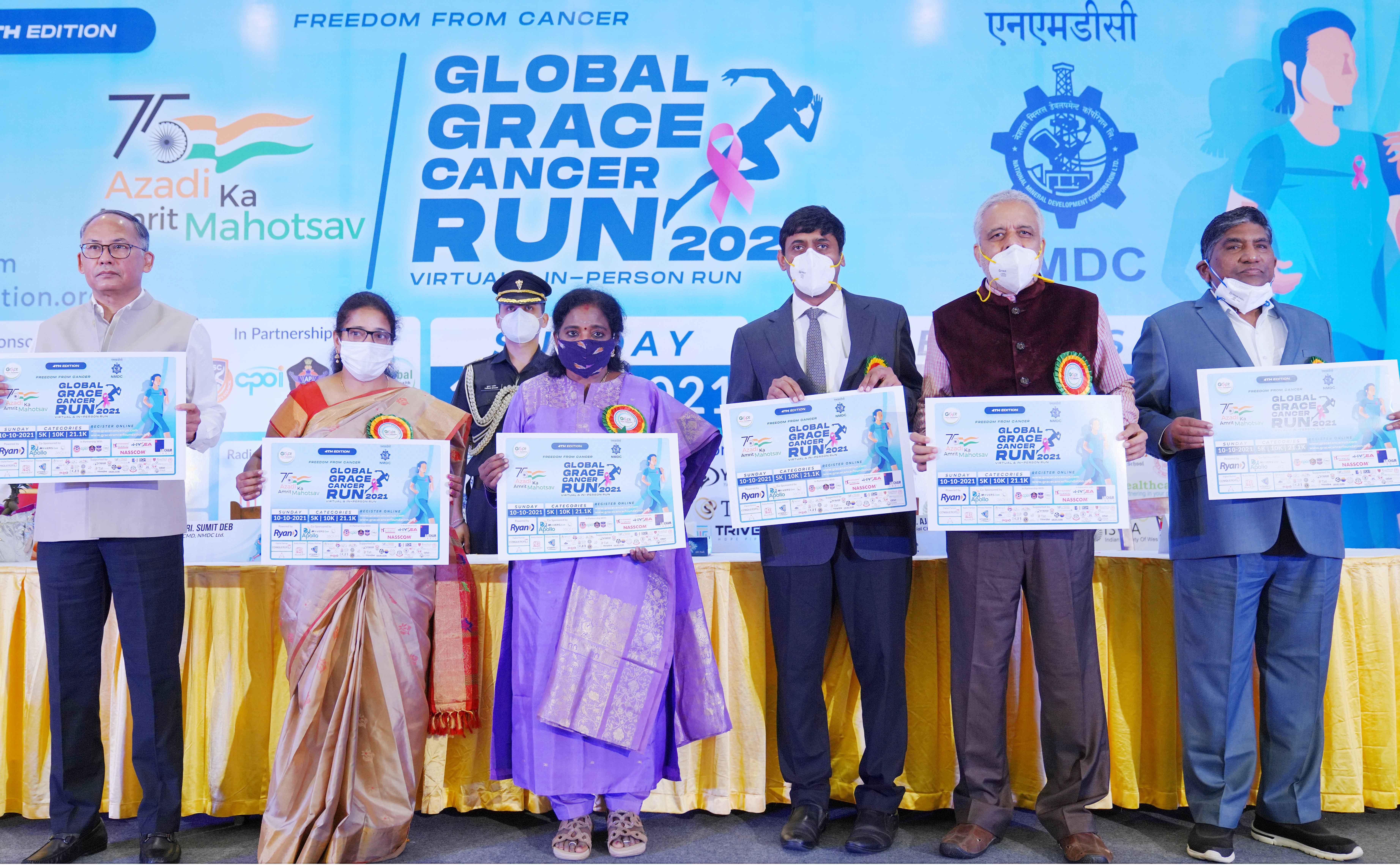 Hon'ble Governor Dr Tamilisai Soundararajan launches the Global run against cancer